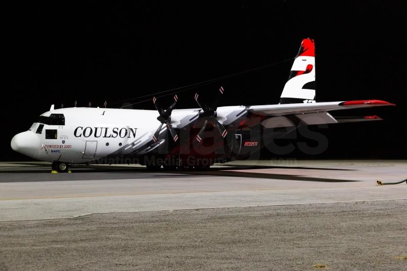 Coulson Aviation C-130H Hercules resting overnight at Busselton Margaret River Airport, Western Australia. Image © v1images.com/Joel Baverstock